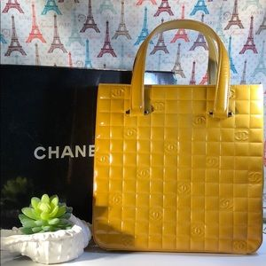 Auth Chanel Chocolate Bar Yellow Leather Satchel